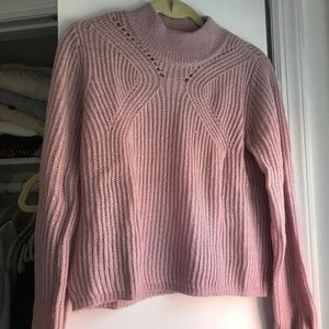 Pink cropped mock turtle neck sweater